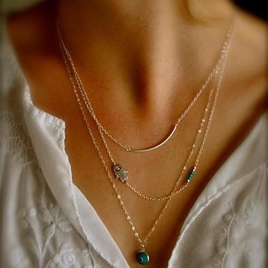 нерегулярный Мода европейский Ожерелья с подвесками Синтетические драгоценные камни Сплав Ожерелья с подвесками , Повседневные