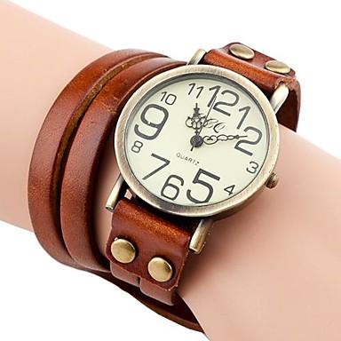 baratos Relógios Senhora-Mulheres Bracele Relógio envoltório relógio Quartzo Couro PU Acolchoado Preta / Branco / Azul Relógio Casual Analógico senhoras Boêmio Fashion - Azul Castanho Claro Castanho Escuro