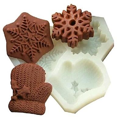 Weihnachten Schneeflocke Handschuhe Fondantkuchen Schokolade Silikonform Kuchen Dekorationswerkzeuge, l11.7cm * W11cm * h1.7cm