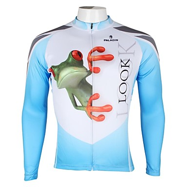 ILPALADINO Bărbați Manșon Lung Jerseu Cycling Animal Bicicletă Jerseu, Uscare rapidă, Rezistent la Ultraviolete, Respirabil