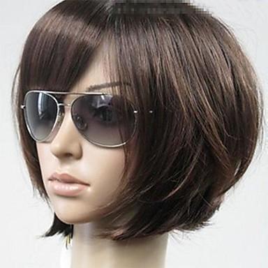 Συνθετικές Περούκες Ίσιο Στυλ Κούρεμα καρέ Χωρίς κάλυμμα Περούκα Καφέ Καφέ Συνθετικά μαλλιά Γυναικεία Καφέ Περούκα Κοντό Φυσική περούκα