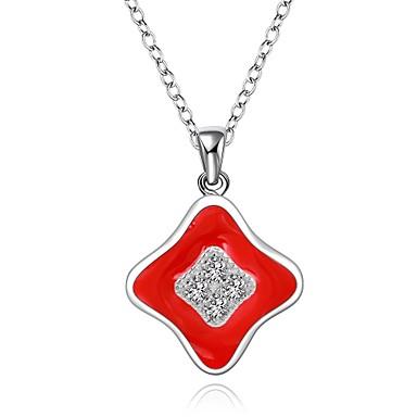 Damen Sterling Silber Kubikzirkonia - Einzelkette Quadratischer Schnitt Modische Halsketten Für Hochzeit Party Besondere Anlässe