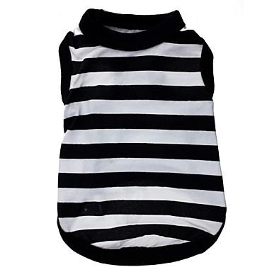 abordables Vêtements & Accessoires pour Chat-Chat Chien Tee-shirt Vêtements pour Chien Rayure Cœur Noir / blanc Térylène Costume Pour Printemps & Automne