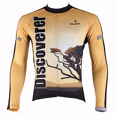 ILPALADINO Per uomo Manica lunga Maglia da ciclismo Natura e paesaggi Bicicletta Maglietta / Maglia Top Tenere al caldo Traspirante Asciugatura rapida Gli sport 100% poliestere Ciclismo da montagna