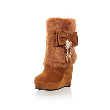 Для женщин Обувь Искусственный мех Осень Зима Туфли на танкетке Сапоги до середины икры Бант Назначение Для праздника Черный Коричневый