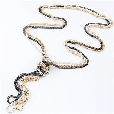 billige Mote Halskjede-Dame Vintage halskjede Slange damer Enkel Stil Mote Legering Blå Rosa Gylden Halskjeder Smykker 3pcs Til Daglig