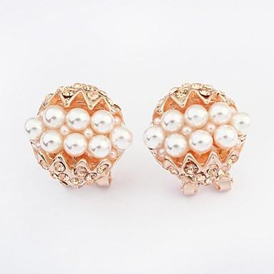 Cercei Stud La modă bijuterii de lux European Perle Imitație de Perle Ștras imitație de diamant Aliaj Culoare ecran Bijuterii Pentru 2pcs