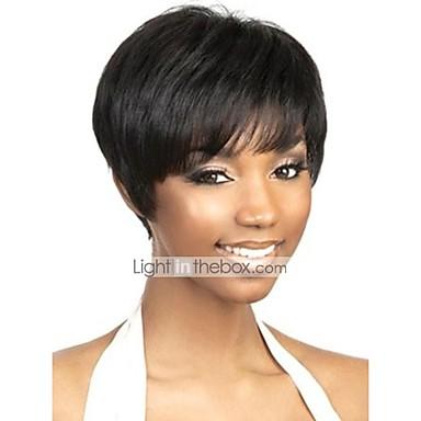 Menneskehår Lågløs Paryk Pixie frisure Korte frisurer 2019 Rihanna stil Brasiliansk hår Naturlig lige Natur Sort Paryk Natur Sort Dame Kort Human Hair Capless Parykker