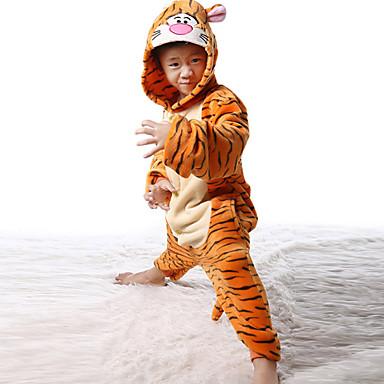 Kigurumi Pyjamas Tiger Kostume Kigurumi Trikot / Heldragtskostumer Cosplay Festival / Højtider Nattøj Med Dyr Halloween Patchwork Til Barn