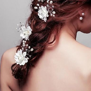 Γυναικείο Κορίτσι Λουλουδιών Κρυστάλλινο Κράμα Απομίμηση Μαργαριτάρι Ύφασμα Headpiece-Γάμος Ειδική Περίσταση Καρφίτσα Μαλλιών 3 Κομμάτια