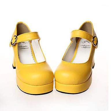 Ayakkabılar Sweet Lolita Lolita Yüksek Topuk Ayakkabılar Solid 7.5 CM Beyaz Siyah Sarı Kırmzı Uyumluluk PU Deri/Poliüretan Deri