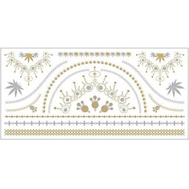 - Dövme Etiketleri - Temalı - Mücevher Serileri - Kadın/Girl/Yetişkin/Genç - Altın Rengi - Kağıt - #(1) -Adet #(20x10x0.2)