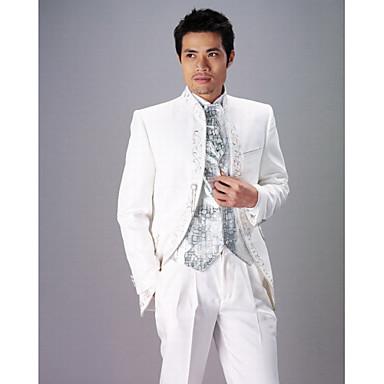 witte polyester slim fit twee-delige smoking