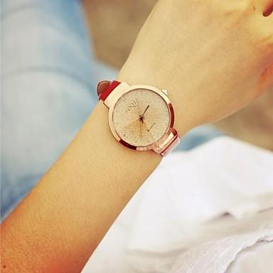 Kadın's Quartz Bilek Saati Büyük indirim Deri Bant Vintage Siyah Beyaz Kırmızı Pembe