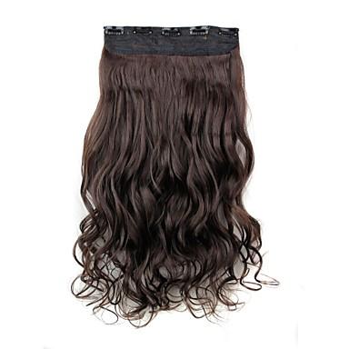 5 klipler ile saç uzatma 24 inç 120g uzun koyu kahverengi ısıya dayanıklı sentetik elyaf kıvırcık klip
