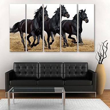 Imprimeu pânză întins Animale Cinci Panouri Vertical Imprimeu Decor de perete Pagina de decorare
