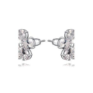 μόδα γυναικών ωραίο πενταπέταλα σχήμα κρυστάλλου ασημένιο κράμα διαμάντι  σκουλαρίκι στηριγμάτων (1 ζεύγος) 7d18cf2de01