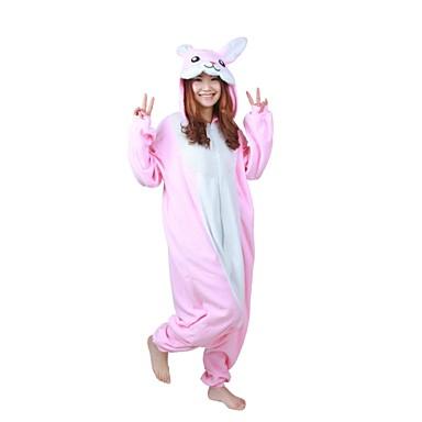 Adulto Pijamas Kigurumi Conejo Pijamas De Una Pieza Lana Polar Rosa