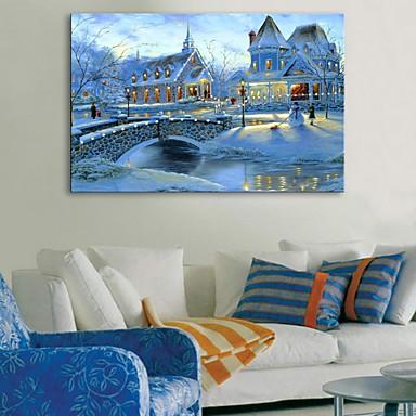 E-home® liderliğindeki tuval baskı sanat karlı kasaba flaş etkisi led gerilmiş
