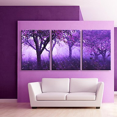 LED Canvas Art Landscape Fantasy Three Panels Print Wall Decor Home Decoration