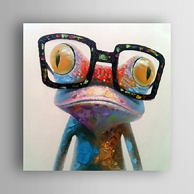 cheap Home & Garden-Hand Painted Oil Painting Animal Pop Art Happy Frog With Glasses On Canvas Wall Art