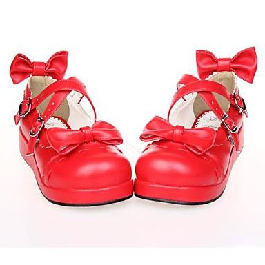 Schoenen Schattig Lolita Plateau Schoenen Strik 3 CM Wit Zwart Rood Voor PU-leer/Polyurethaan Leer