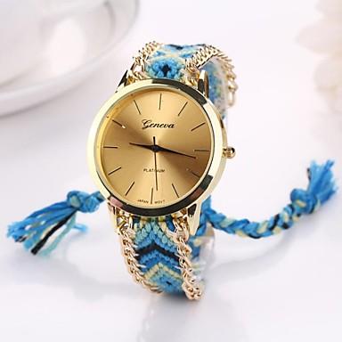 Women's Quartz Wrist Watch Casual Watch Fabric Band Bohemian Fashion Black