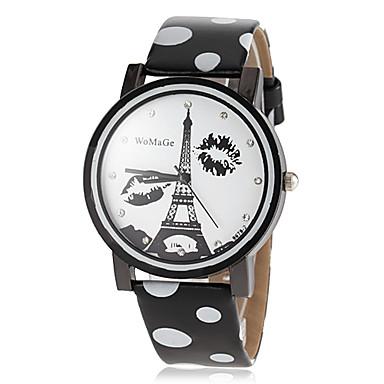 Női Ruha óra Divatos óra Kvarc Hot eladó PU Zenekar Eiffel torony Fekete Fehér Kék Piros