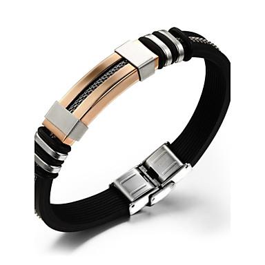 Men's Leather Bracelet - Titanium Steel Bracelet Black For Wedding / Party / Daily