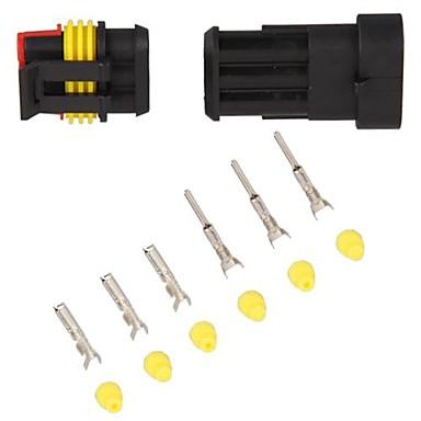 10 kit 1.5mm auto boot motor fiets vrachtwagen 3 pin manier waterdichte elektrische draad connector plug