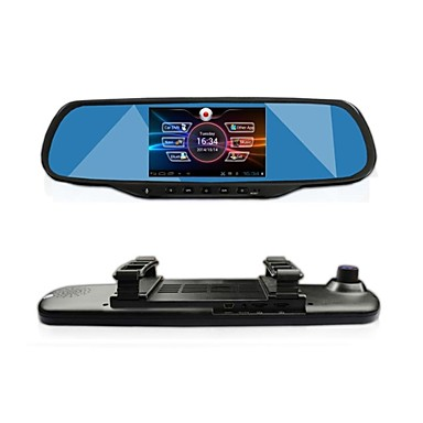 "billige Bil Elektronikk-gt view 5.0 ""touch android gps-navigasjon bluetooth wifi 1080p dobbel linse bakspeilet dash bil DVR"