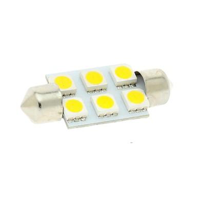 36mm 6x5050 SMD LED 100lm 3000K meleg fehér fények girland dome olvasási térképen rendszámtábla-világítás izzó az autós (DC 12V)