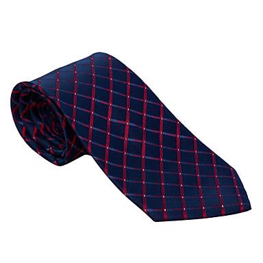 Men's Party/Evening Wedding Burgundy&Navy Blue Checked Necktie