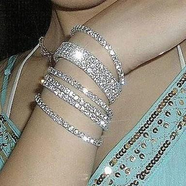 cheap Bracelets-Women's Chain Bracelet Tennis Bracelet Bracelet Imitation Diamond stardust Statement Ladies Bridal Bracelet Jewelry Silver / Rainbow For Wedding Party Anniversary Daily Masquerade Engagement Party