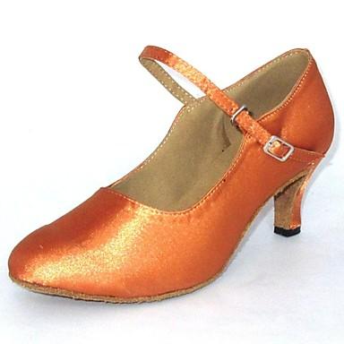Women's Modern Shoes Satin Sandal Customized Heel Customizable Dance Shoes Tan / Black