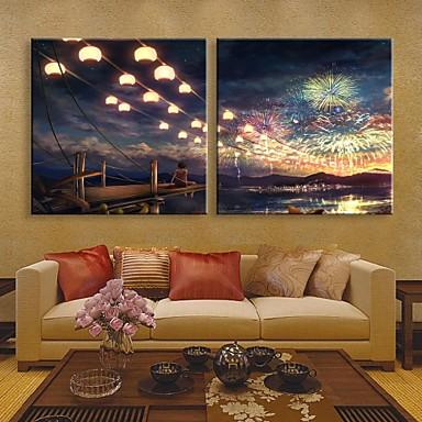 E-HOME® Stretched LED Canvas Print Art Fireworks Flash Effect LED Flashing Optical Fiber Print Set of 2