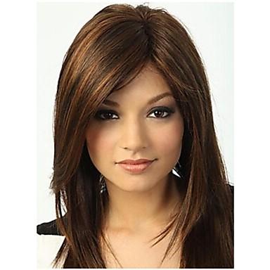 Парики из искусственных волос Прямой С чёлкой С Bangs плотность Без шапочки-основы Жен. Коричневый Парик из натуральных волос Длинные