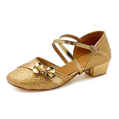 Moderne dansschoenen / Ballroom Pailletten Sandalen Strik / Pailletten Blokhak Niet aanpasbaar Dansschoenen Zilver / Goud