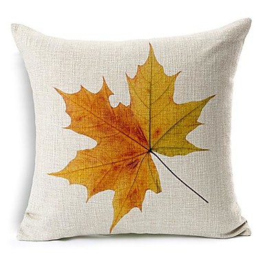 1 Pcs Maple Leaves Nature Country Square Cotton/Linen Pillow Cover