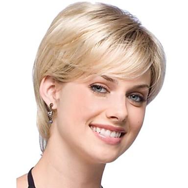 монолитным цветовой гаммы дополнительный короткий высокого качества естественный вьющиеся волосы синтетический парик с боковой челкой