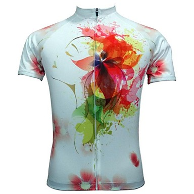 JESOCYCLING Women's Short Sleeve Cycling Jersey Floral / Botanical Bike Jersey, Quick Dry, Breathable Polyester