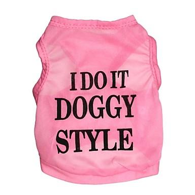 Kat Hond T-shirt Hondenkleding Letter & Nummer Roze Textiel Binnenwerk Kostuum Voor huisdieren