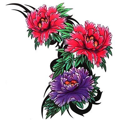 Tetkó matricák Virág sorozat Nagy méret Alsó hát Waterproof Női Girl Felnőtt Tini flash-Tattoo ideiglenes tetoválás