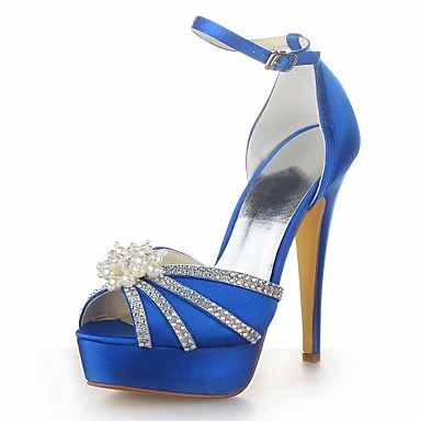 0c0557a510970d Women s Satin Summer Stiletto Heel Pearl Silver   Yellow   Royal Blue    Wedding 2571281 2019 –  49.99