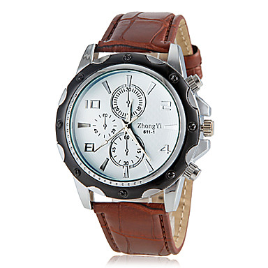 Men's Dress Watch Quartz Hot Sale PU Band Charm Black White Brown