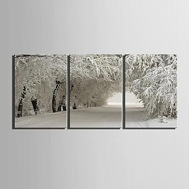 E-Home® Leinwand Kunstschneelandschaft Dekoration Malerei Set von 3