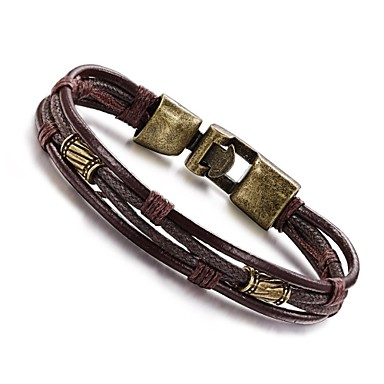 49934c547 Men's Wrap Bracelet Leather Bracelet Rope Wrap Twisted Personalized Vintage  Hip-Hop Paracord Bracelet Jewelry Silver / Black / Black / Gray /  brown+silver ...