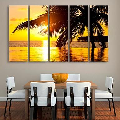e-home® kanvas 5 sahil dekorasyon boyama seti sanat gerilmiş