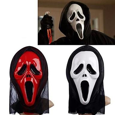 voordelige Maskers voor de feestdagen-wit&rode spook masker met hoofdbedekking schreeuwen practical joke eng cosplay gadgets halloween kostuum partij (assorti kleur)