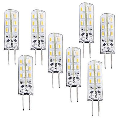 8τεμ 1W 100-120 lm G4 LED Λάμπες Καλαμπόκι T 24 leds SMD 3014 Με ροοστάτη Θερμό Λευκό DC 12V